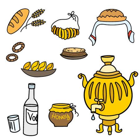 samovar: Samovar and Russian traditional food