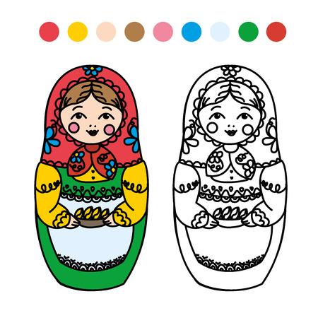mu�ecas rusas: colorear para ni�os. mu�ecas rusas - matryoshka. ilustraci�n vectorial Vectores