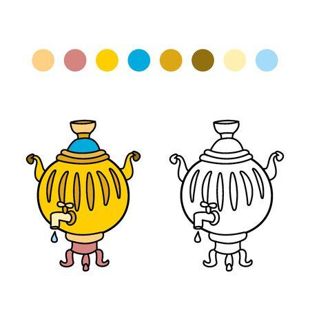samovar: childrens coloring.Russian samovar colorful vector illustration. Illustration