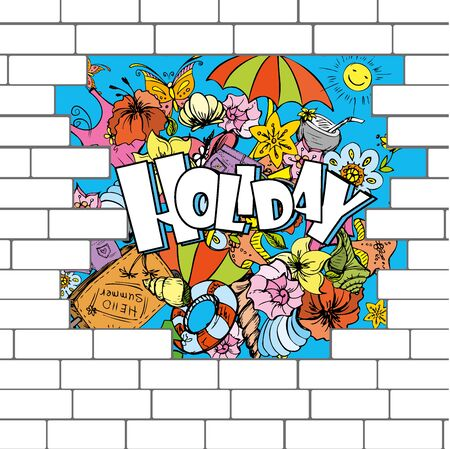 break in: break in a brick wall with a summer background, vector illustration