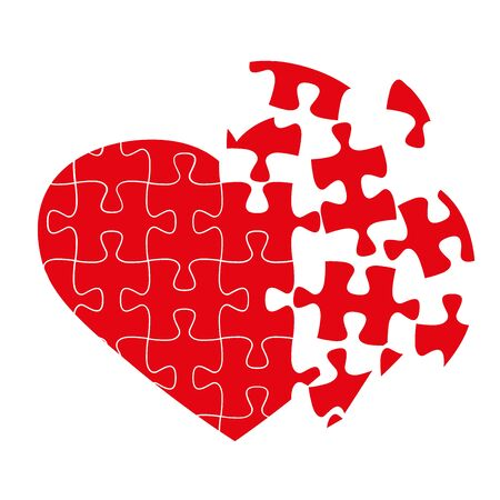 puzzle heart: Broken puzzle heart, isolated on white, vector illustration