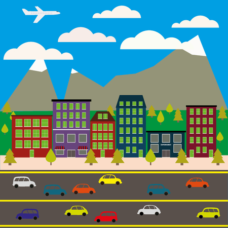city view: View of the city in style flat, vector illustration. Illustration