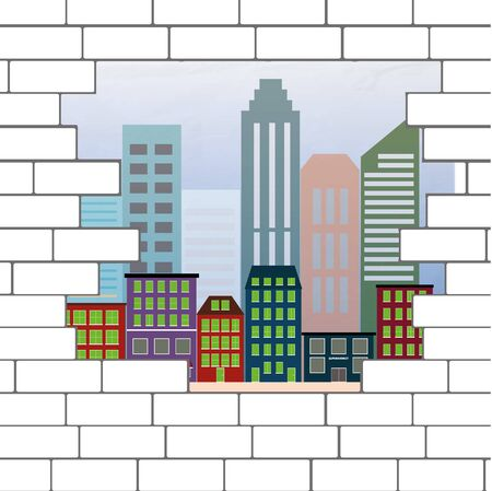 break in: break in the brick wall with a view the city, vector illustration