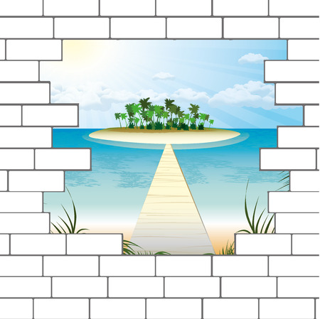 break in: break in a brick wall with a beautiful ocean beach. Vector.