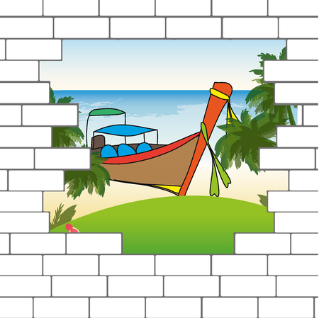 break in: break in the brick wall with a beautiful ocean  beach and Longtail boat, vector illustration