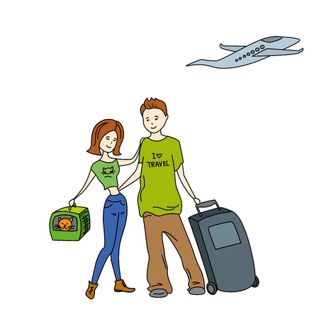 full length woman: man and woman traveling together, vector Illustration