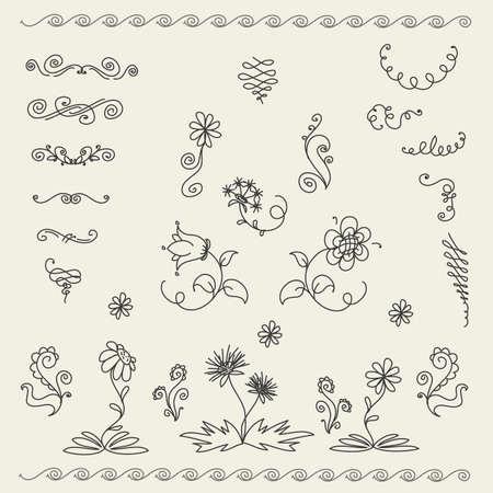 calligraphic design: Calligraphic design elements and page decoration, vector