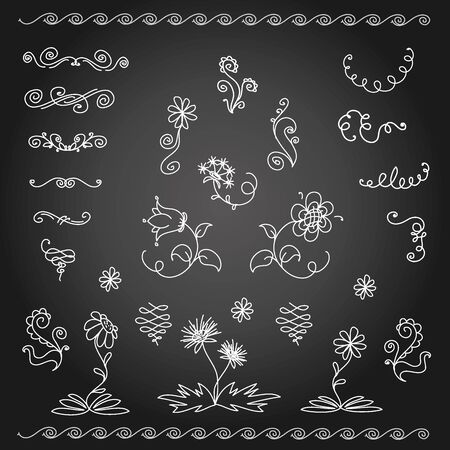 calligraphic design: Calligraphic design elements and page decoration, vector on black background