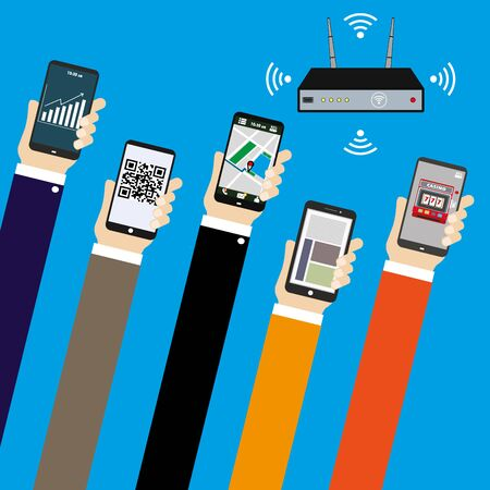 Mobile applications concept. Hand with phones and wifi router flat illustration