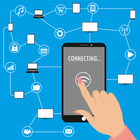 second hand: Hand holding smart phone and second hand touches the screen,Conceptual picture of connection between gadgets, icons, networks.Flat Vector illustration