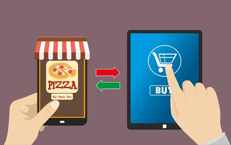 tablet pc in hand: One hand holds a smartphone shop, the other hand holding a tabet pc with icon shopping,  e-commerce on the phone and tablet, flat design Illustration