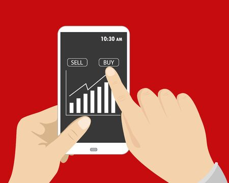 stockmarket: One hand holding smart phone, and other button presses to buy on screen, flat design