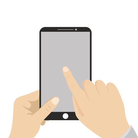 using smart phone: Hand holding black smartphone, touching blank screen. Using mobile smart phone, flat design concept, vector Illustration