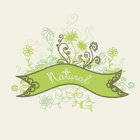 inscription: Card with flowers and place for an inscription, vector illustration Illustration
