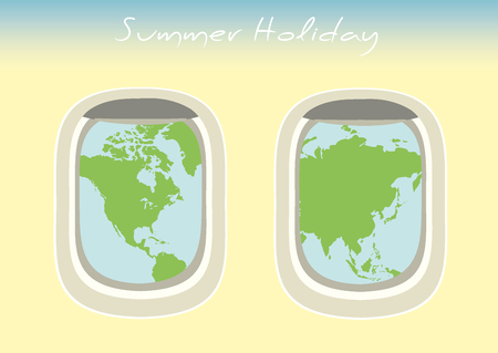 which: airplane window through which the visible world map,vector