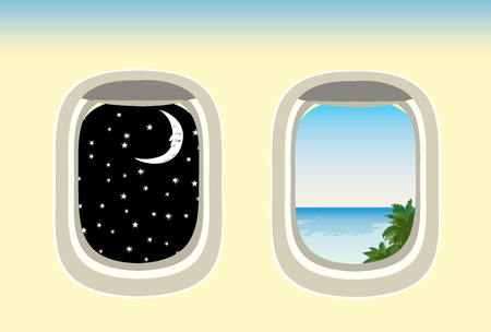beach closed: vector airplane windows through which the visible ocean and night