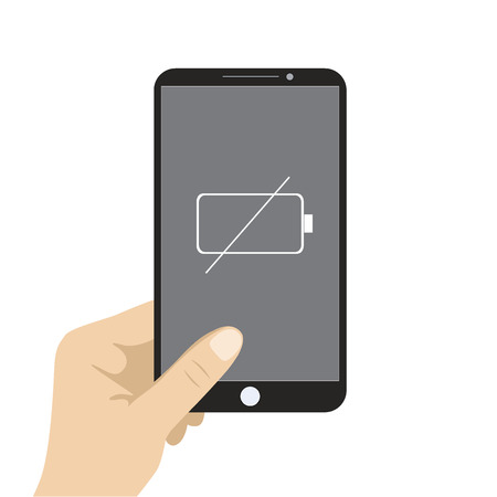 gsm: Hand holding smart phone which needs charging, vector illustration