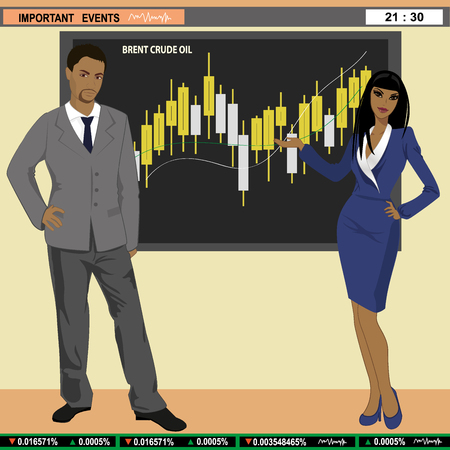 anchorman: Financial news anchor man and woman header TV, vector illustration