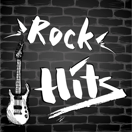 hits: The inscription - Rock Hits and Guitar on a brick wall, vector illustration