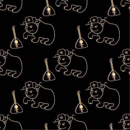 balalaika: Bear in a cap with earflaps and a balalaika on a black background seamless pattern, vector