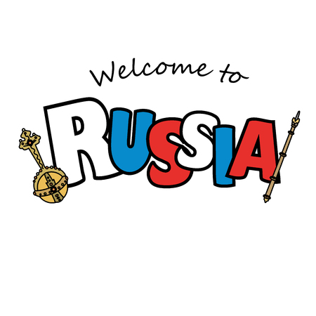 Welcome to Russian and royal regalia. Vector illustration isolated on white background Illustration