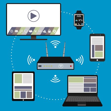 tft: Smart device- smartphone, laptop, TV,tablet pc, watch and wi fi router , flat design, vector illustration Illustration