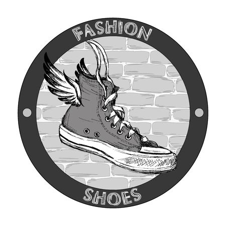 wings grunge: Hipster gumshoe with wings. Grunge hand drawn vector design template. Shoe icon