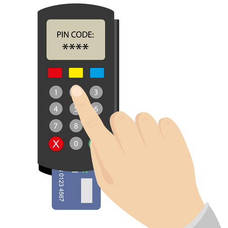 keypad: Hand enters the PIN code on the POS terminal, vector illustration