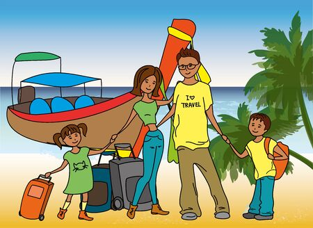 Family arrived on holiday on  on the beach,longtail boat on background, vector