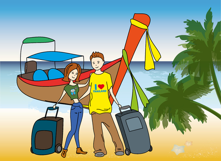 Couple arrived on holiday on the beach,longtail boat on background, vector