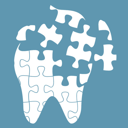 incisor: tooth of the puzzle,dental caries, vector illustration