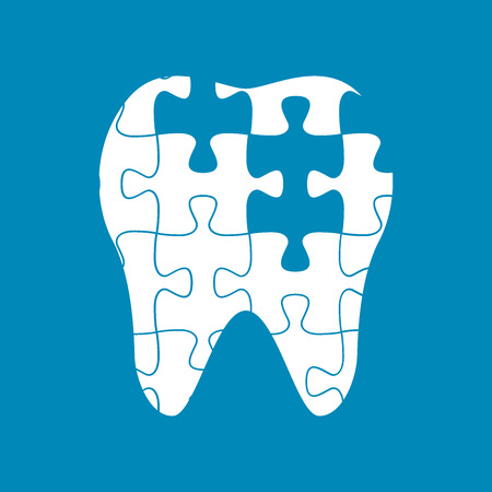 dental caries: tooth of the puzzle,dental caries, vector illustration