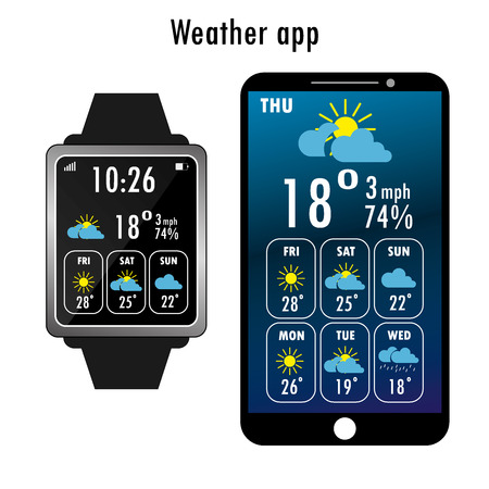 scrollbar: Smartphone and smart watch  with weather app on the screen. Flat design template for mobile apps, Vector illustration Illustration