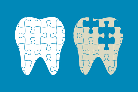 diseased: tooth of the puzzle,healthy and diseased teeth, vector illustration