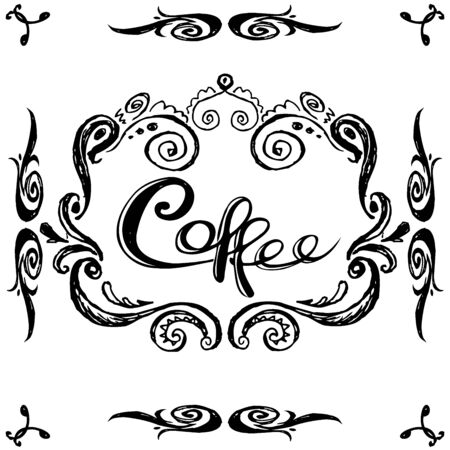 vintage label,coffee,  black on white background hand drawing, vector illustration