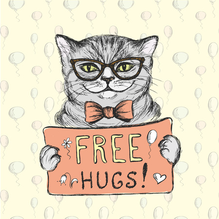 Cute cat wearing glasses with a sign free hugs, vector illustration Illustration