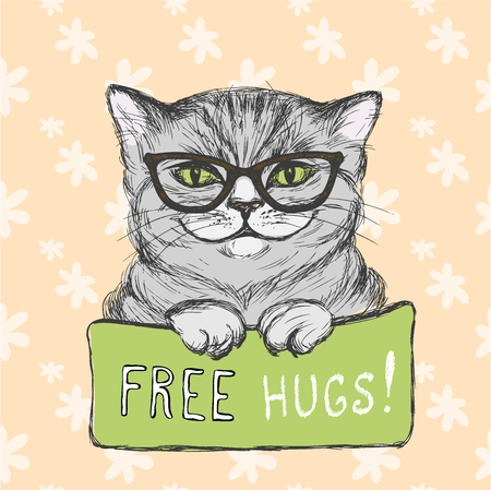 hugs: Cute cat wearing glasses with a sign free hugs, vector illustration Illustration