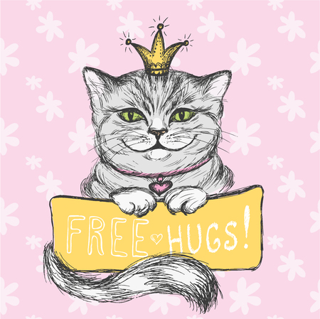 Cute hand drawn card, Cat and inscription- free hugs, floral background,vector illustration