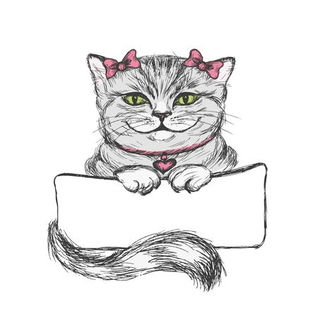 moggie: Cute cat girl holds in paws a sign for an inscription, vector illustration on a white background