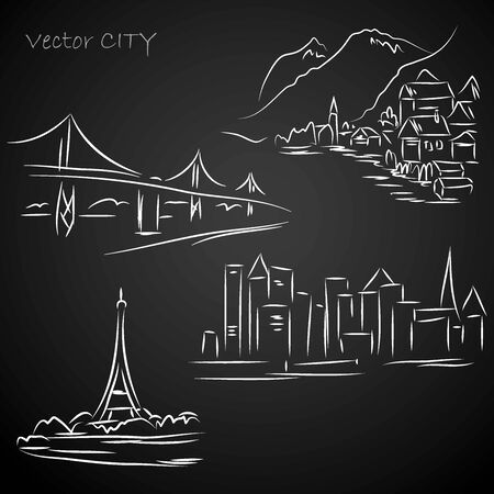 europa: Silhouettes urban landscapes, hand drawing, vector illustration