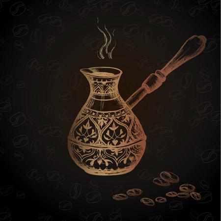 cezve: Old coffee Cezve on black background.Hand drawn Vector Illustration Illustration