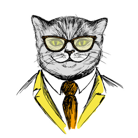 anthropomorphism: cat dressed up in hipster style,fashion vector illustration on white background,