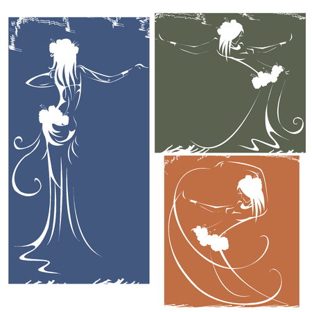 bellydance: silhouettes of dancers hula,bellydance, tribal. vector illustration