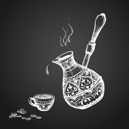 cezve: Old Cezve ,cup, coffee beans.Hand drawn Vector Illustration