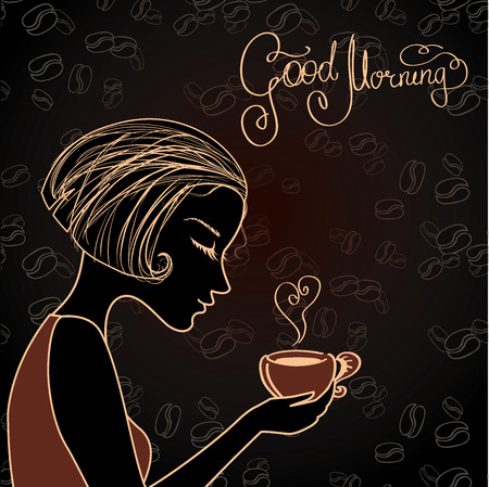drink coffee: Beautiful female silhouette with a cup of coffee, vector illustration Illustration