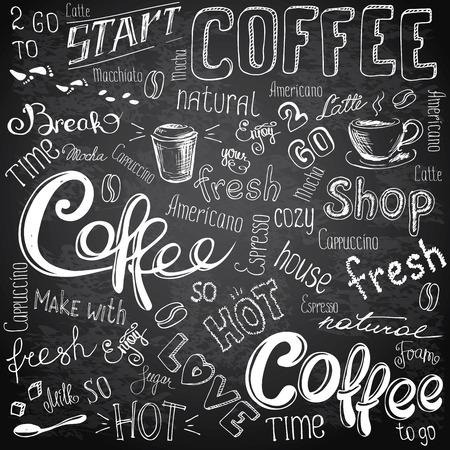 Ilustración del vector dibujado a mano café para llevar, vasos, tazas, frijoles y tipos de letras. En blanco y negro