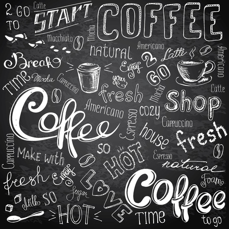 Vector illustration hand drawn coffee to go, cups, mugs, beans and lettering types . Black and white Vectores