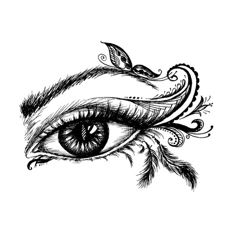 Eye hand drawn  with doodle make up, vector illustration on white background
