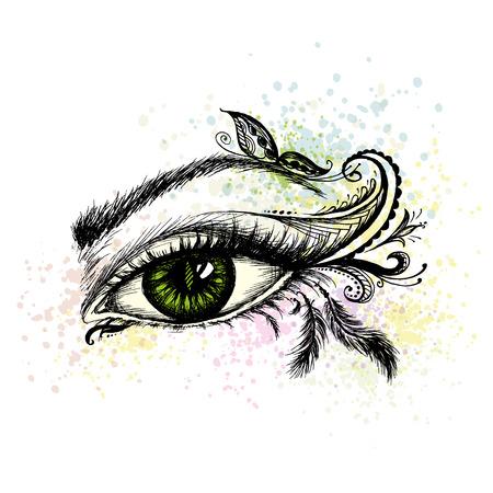 Eye hand met doodle getrokken make-up, vector illustratie Vector Illustratie