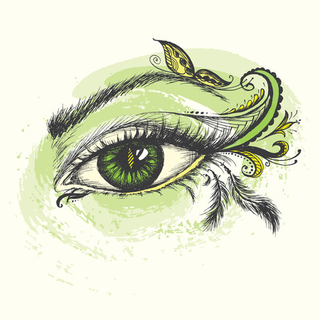 Eye hand drawn  with doodle make up, vector illustration. Illustration